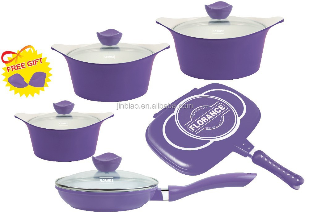 12pcs Die-casting aluminum korea cookware sets with ceramic coating