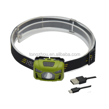 Super Bright USB Rechargeable Head lamp with motion sensor & 2 led reds