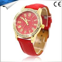 2016 Ladies Diamond Casual Geneva Watch Checkers Leather Quartz Analog Wrist Watch GW054