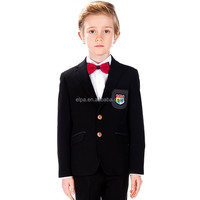 boy's spring autumn kintting 2015 new style Black T/R boy blazer with Elbow Patches