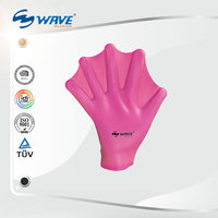 High Quality Pool Training Use Silicone Swim Hand Fins Pink Paddling Gloves