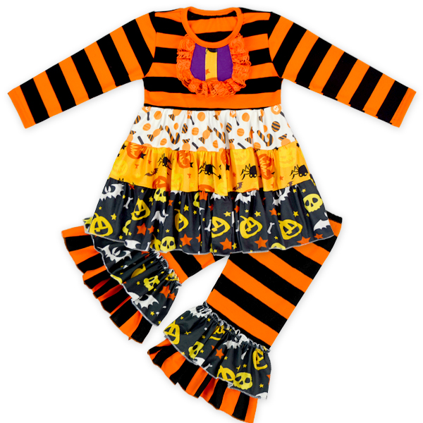 Halloween 3PC Pumpkin Boutique Clothes Girl Clothing Factories In China