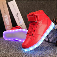 CZ21305a Good quality breathable boys pu 7colors lights unisex usb charge led shoes