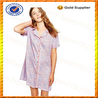 Custom 100% Cotton Short Sleeve Nightshirt/Women New Sexy Nighty Design