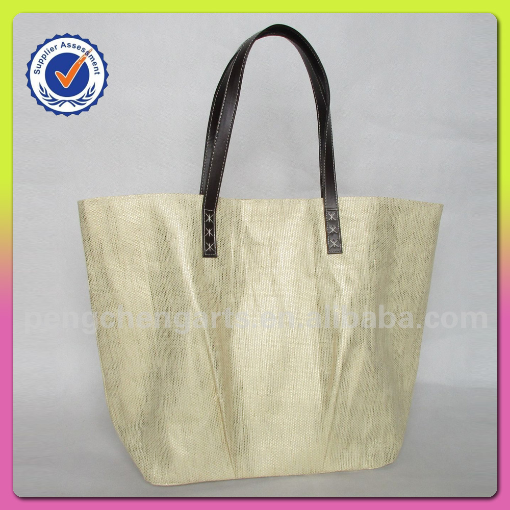 big tote style bag with paper straw ladies shopping handbags
