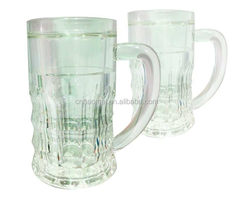 620ML Plastic Acrylic Beer Ice Mug Freeze Gel Mug With Handle Liquid Inside
