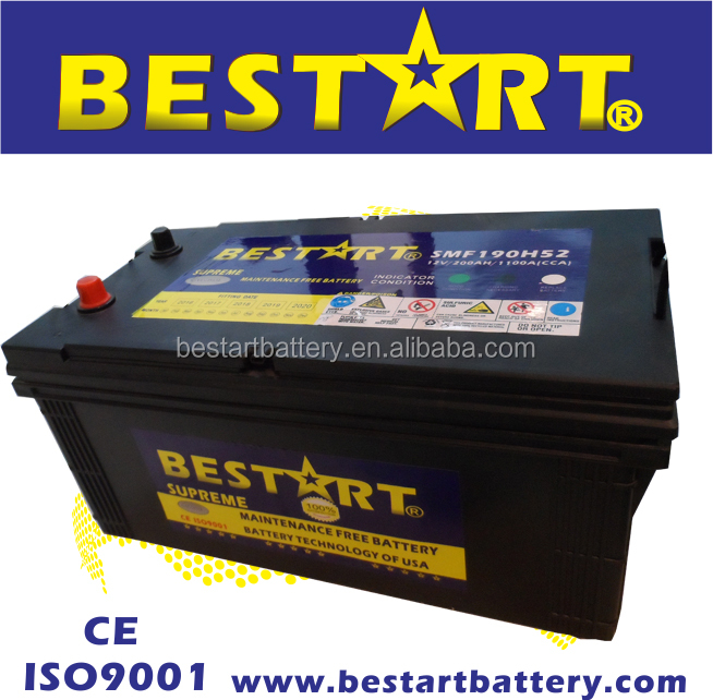 12V 200Ah automobile electric vehicle car battery Maintenance free 190H52 N200MF
