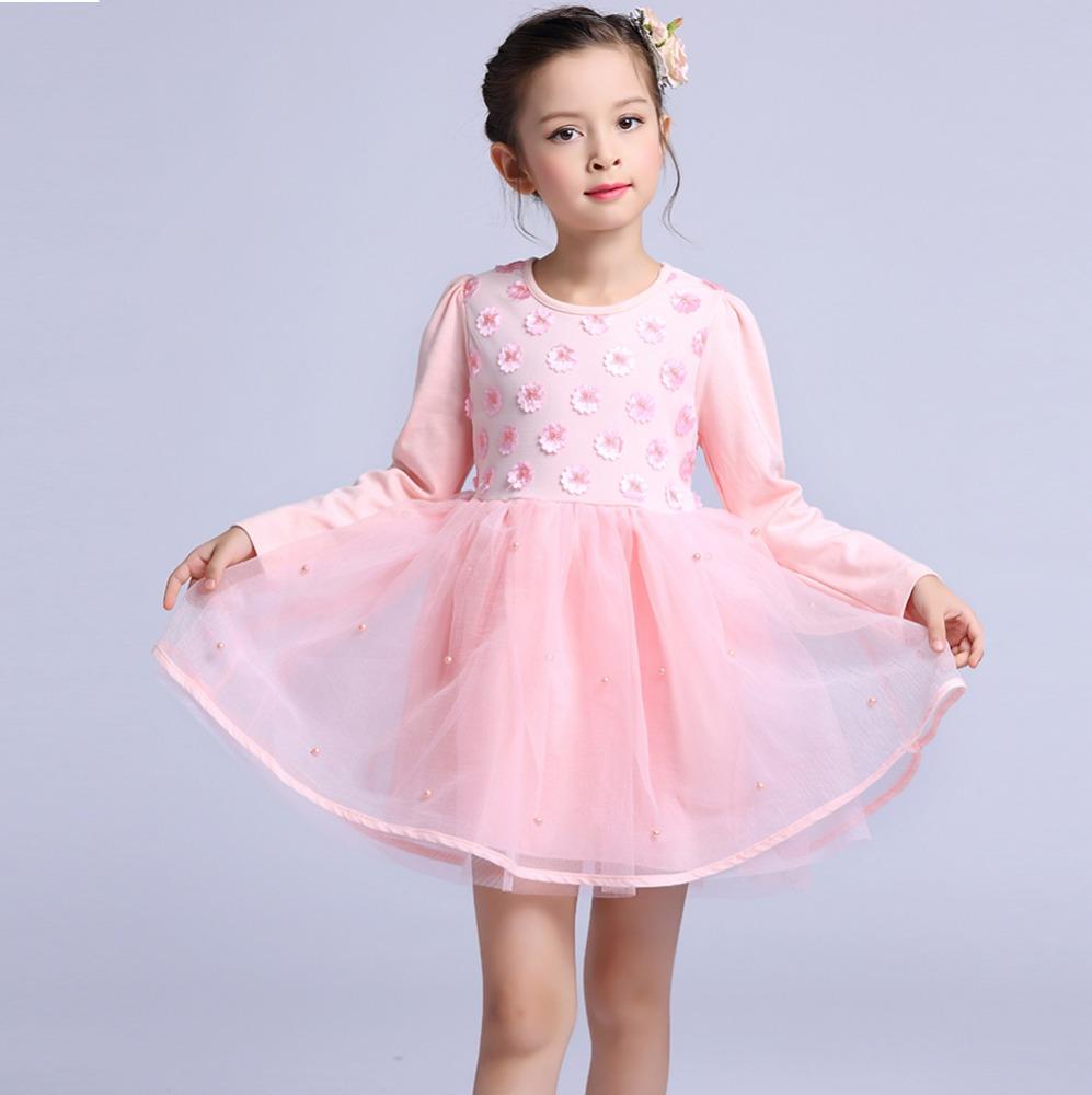 Rosa niño Bebé Vestidos de fiesta para niñas de manga larga 3D ...