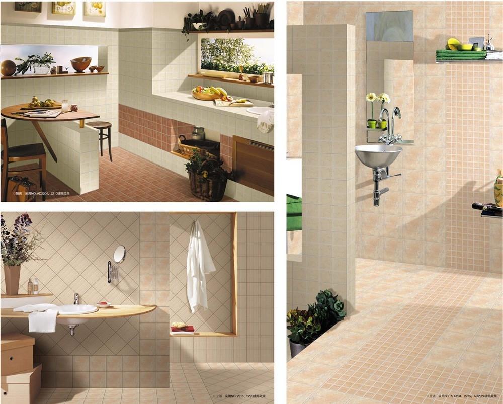 Ceramic tile bathroom wall