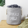 Large Sized Folding Cylindric Coating Canvas Fabric Laundry Hamper Storage Box with Drawstring Cover