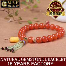 Natural south fort Cherry red bracelet, 8 mm, tie-in natural beeswax barrel bead small pendant, etc., S925 silver 24 k gold