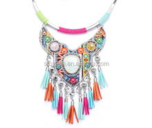 Stoyuan Wholesale Luxury Chunky Statement Bead Pendant Colorful Bib Flower Pendant Crystal Necklace for Women