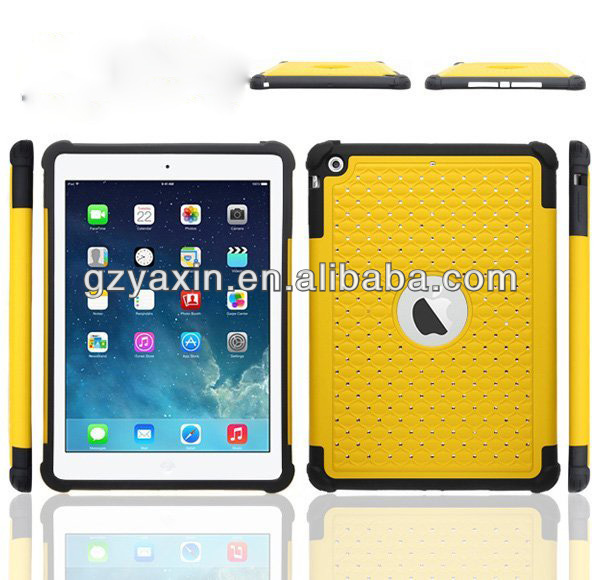 Diamond Hybrid Bling Hard Back Case For ipad air 5,waterproof shockproof case for ipad air