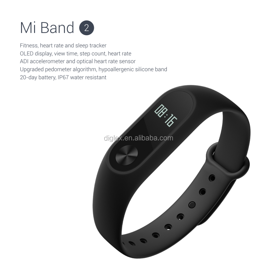 "Chinese/Globle Version Xiaomi Mi Band 2 Smart Bracelet 0.42"" OLED Display/ Touch Key Control/ Call Reminder/Android iOS"