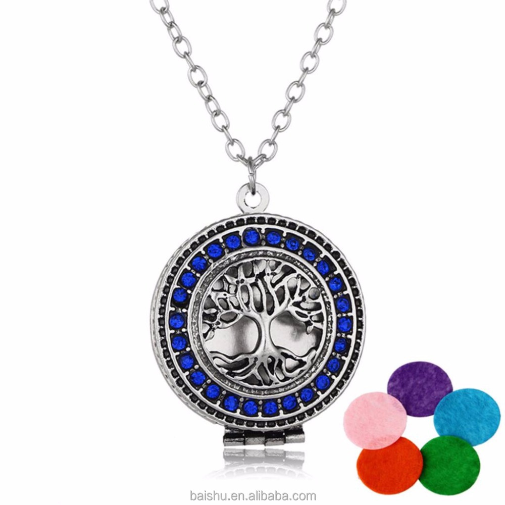 New Products 2018 Aromatherapy Necklace Silver Color with Tree of Life pendant necklaces Essential Oils Diffuser Locket Necklace