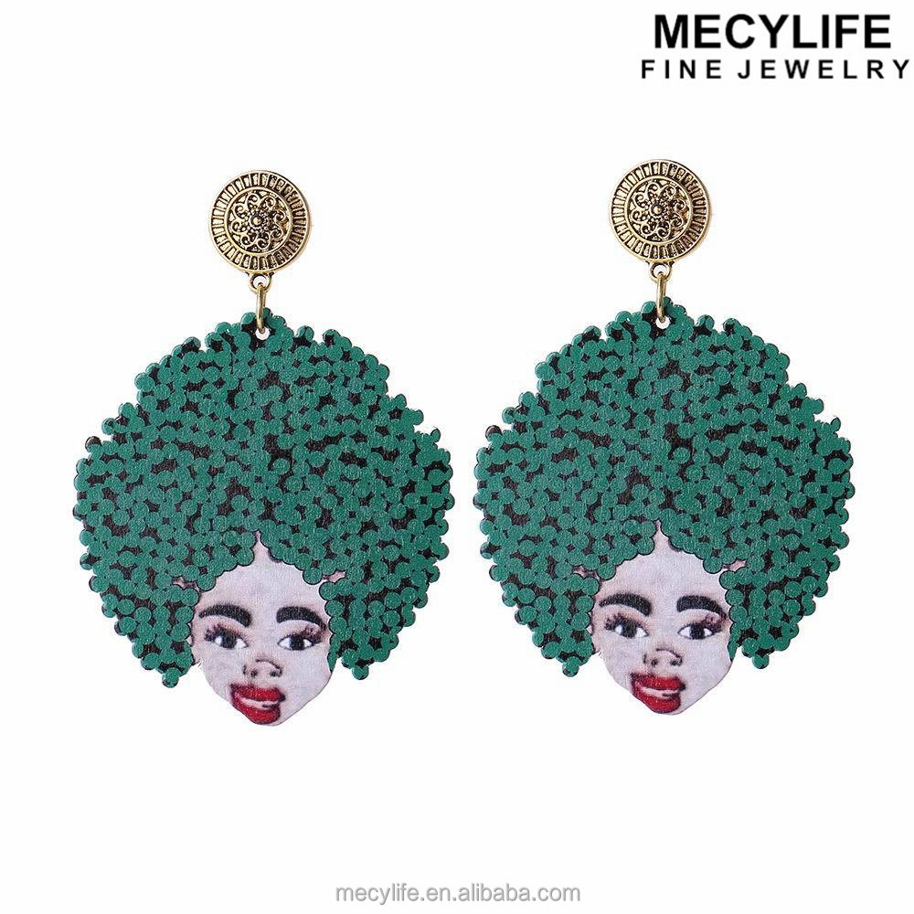 MECY LIFE wholesale unique design colorful wood african girl shape earrings