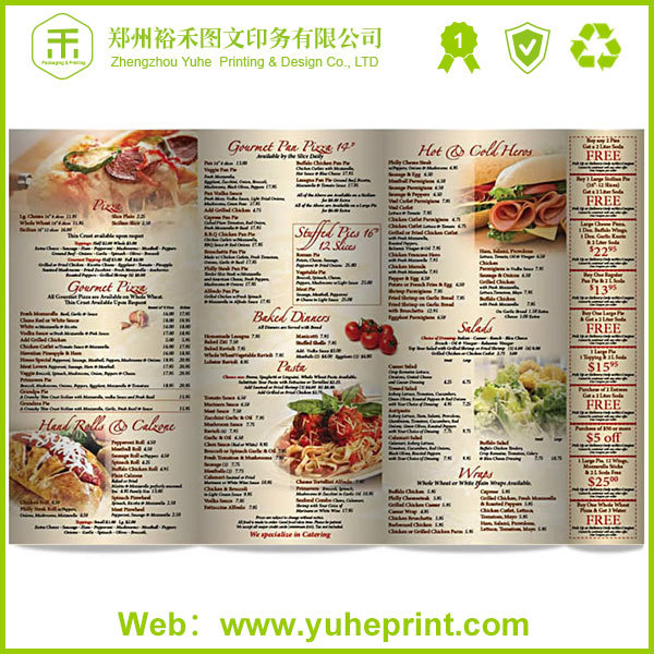 A4 size full color coffee house poster printing restaurant menu folder