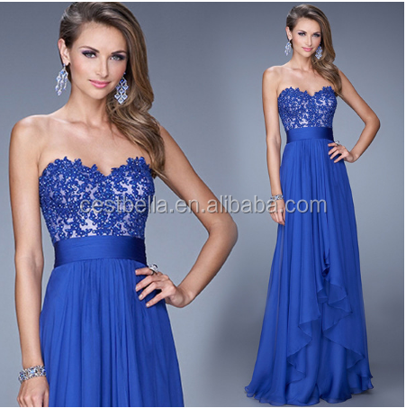 Full length blue strapless bridesmaid dresses women evening gown lady long blue party dresses