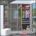 Customized sliding door aluminum frame wooden wardrobe