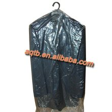 disposable plastic garment bags in dry cleaner