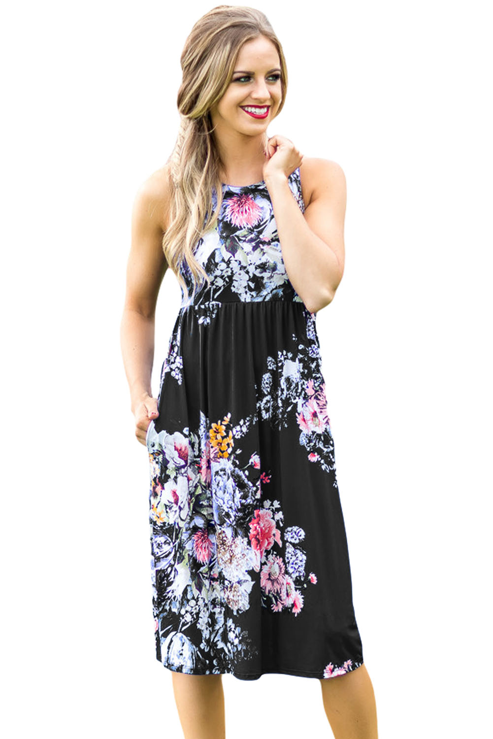 Summer Women Midi Dress Women Fall in Love with Floral Print Boho Knee Length Ladies Casual Dresses Robe Longue Femme V616120