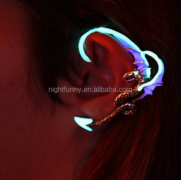 Best Selling Glow In The Dark Punk dragon Cuff Earrings,Women Girls Trendy Night Glowing Earring