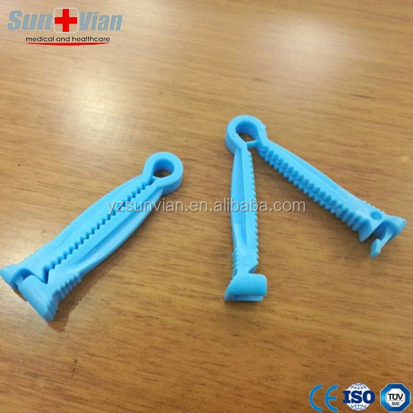 Blue And White Sterile Plastic Disposable Umbilical Cord Clamp
