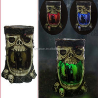 Halloween decoration polyresin trunk rein skull solar garden light colorful light home decor