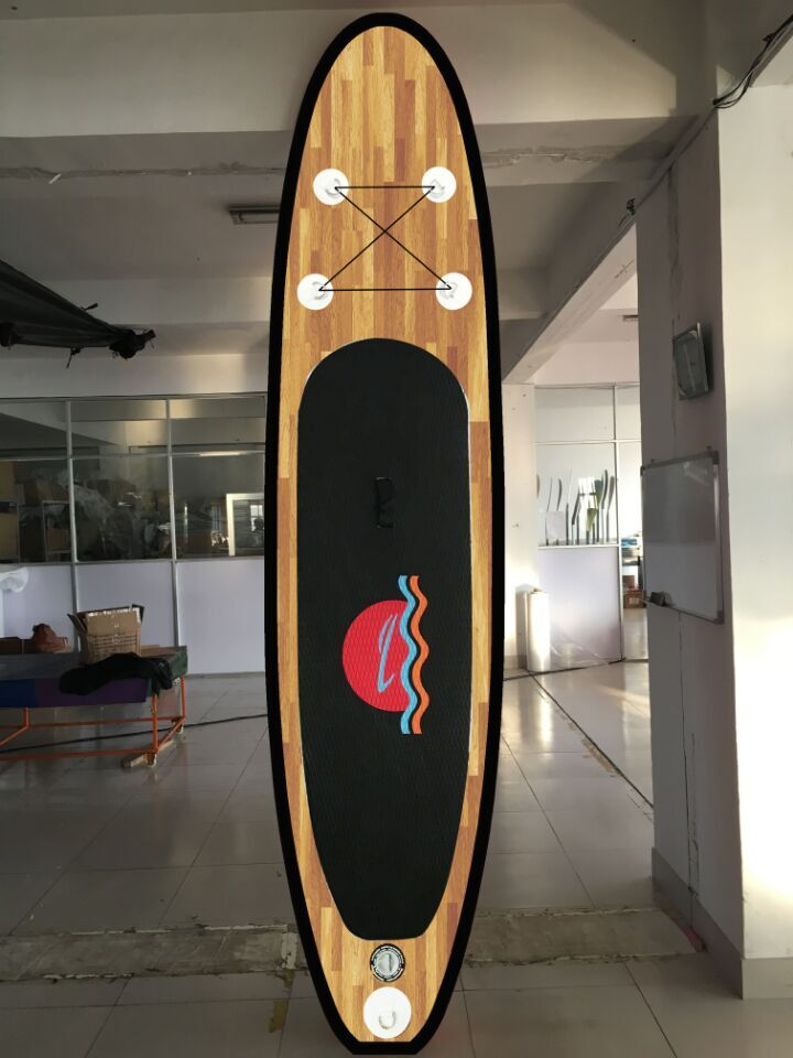 2016 new style wood <strong>grain</strong> sup board inflatable sup paddle board/wood background racing board with paddle, pump, backpack