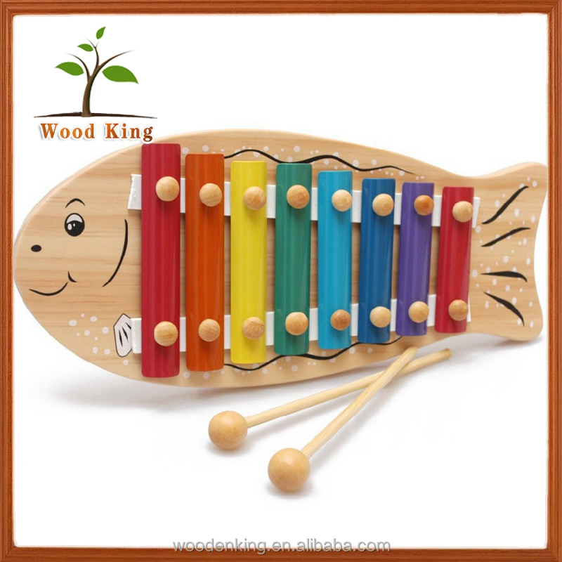 Wholesale Educational Lovely Fish Eight Piano Wooden Instruments Hit Music Baby Funny Baby Toys 2017