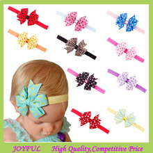 Dot Printed Chiffon Flower Baby Hair Bows