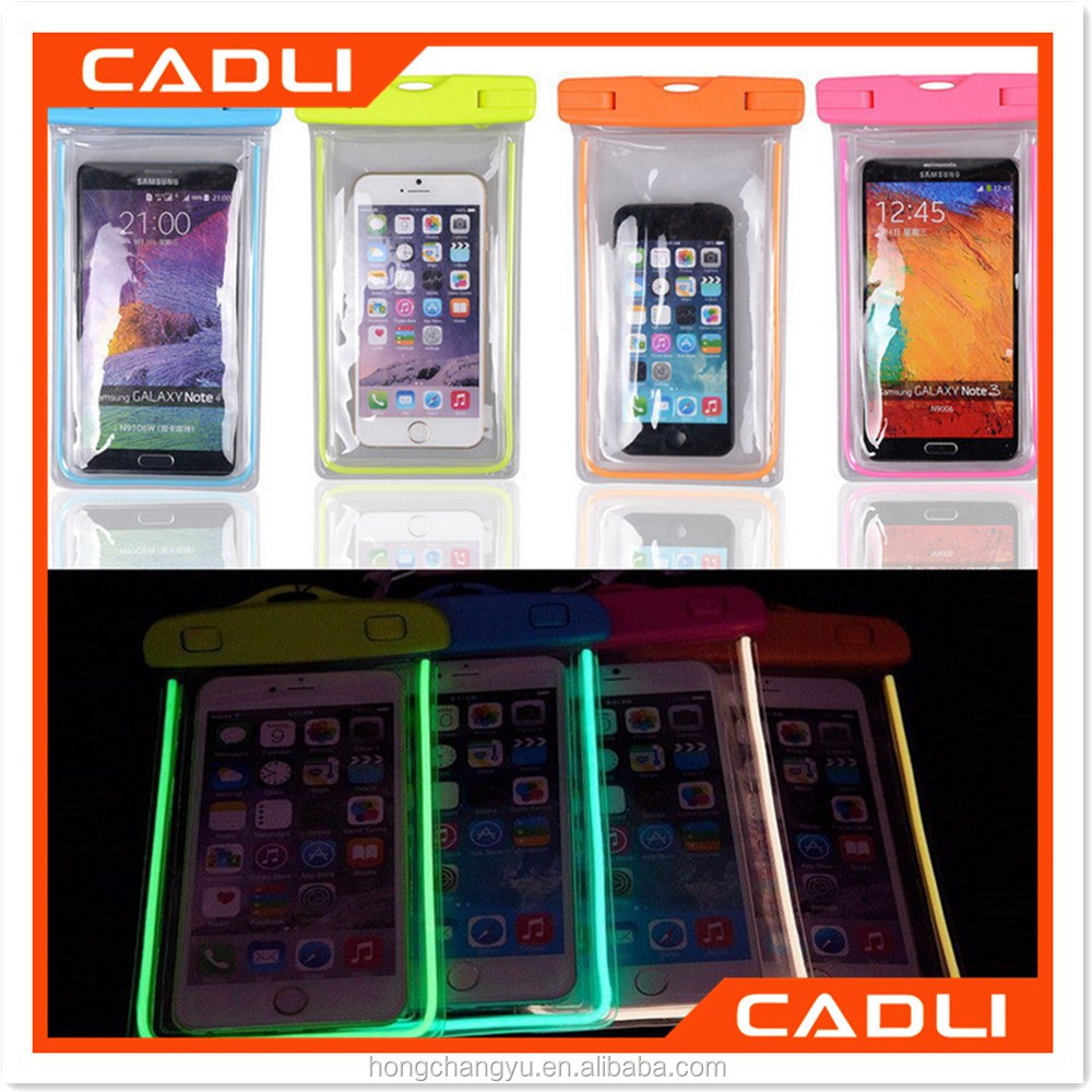 100% Universal Waterproof PVC Bag Underwater back cover Fluorescent Glitter Pouch Case For iPhone For Samsung
