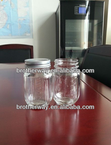ball glass mason jar with measure,glass mason jar with metal lid and plastic straw