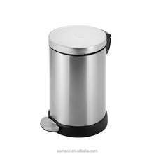 high quanlity 12L 20L 27L 30L stainless steel metal soft close foot oval pedal dust bin for hotel use
