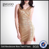 MGOO 2015 New Arrvial Gold Shinning Bandage Dress Sheath Sexy Sleeveless Criss Cross Dress H132