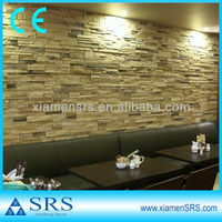 Yellow slate rough stone interior wall tile
