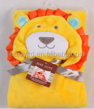 New style soft flannel animal hood baby swaddle blanket for kids