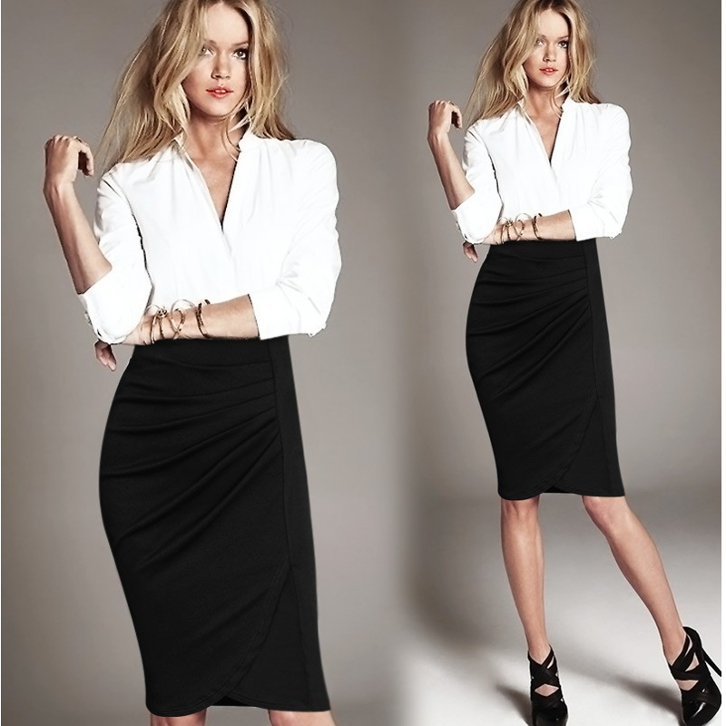 Black color ladies skirt designs fashion sexy midi pleated skirt