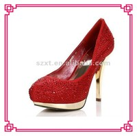 Elegant!! Red passionate lady shoes bridal crystal high heel pumps shoe