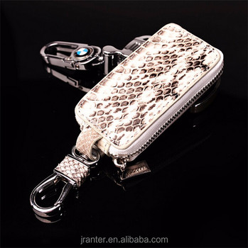 Custom python snakeskin key case for car,smart leather car key case