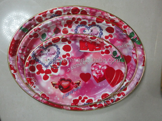 Valentine's Flat Oval PlasticTray,Flat Oval Plastic Serving Tray