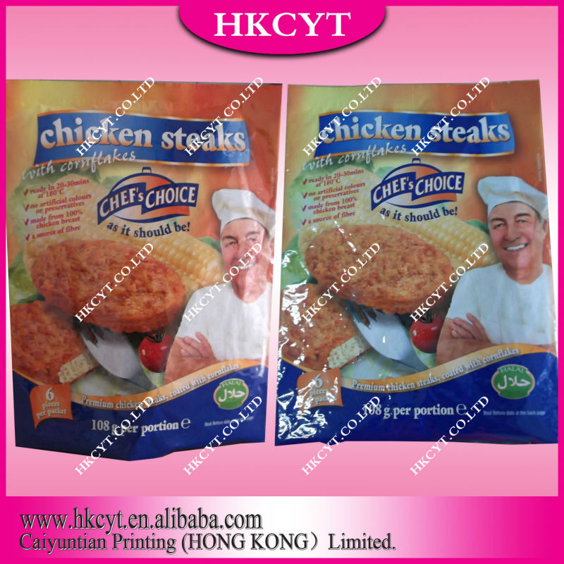 Chef's Choice Plastic Chicken Steaks Food Packaging Bags With Tear Notch No Zipper