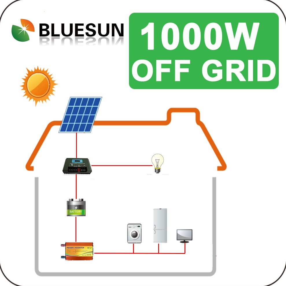 Bluesun complete design off-grid 1000w solar panel with integrated battery