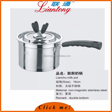 Free sample hot selling 2017 amazon non magenetic SS201 SS304 stainless steel milk boiling pot