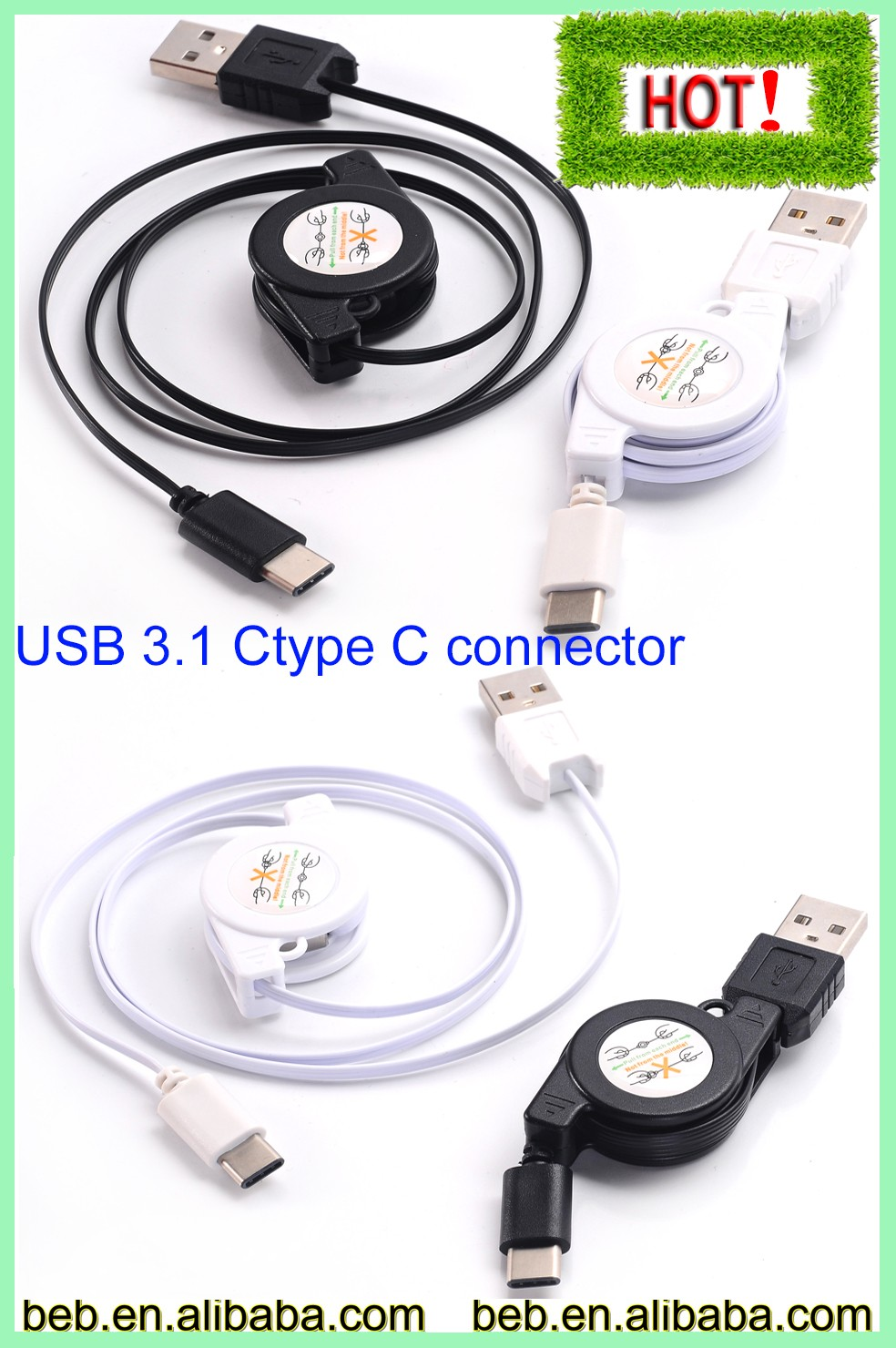 Retractable usb 3.1 type c reversible cable usb type c cable on hot selling
