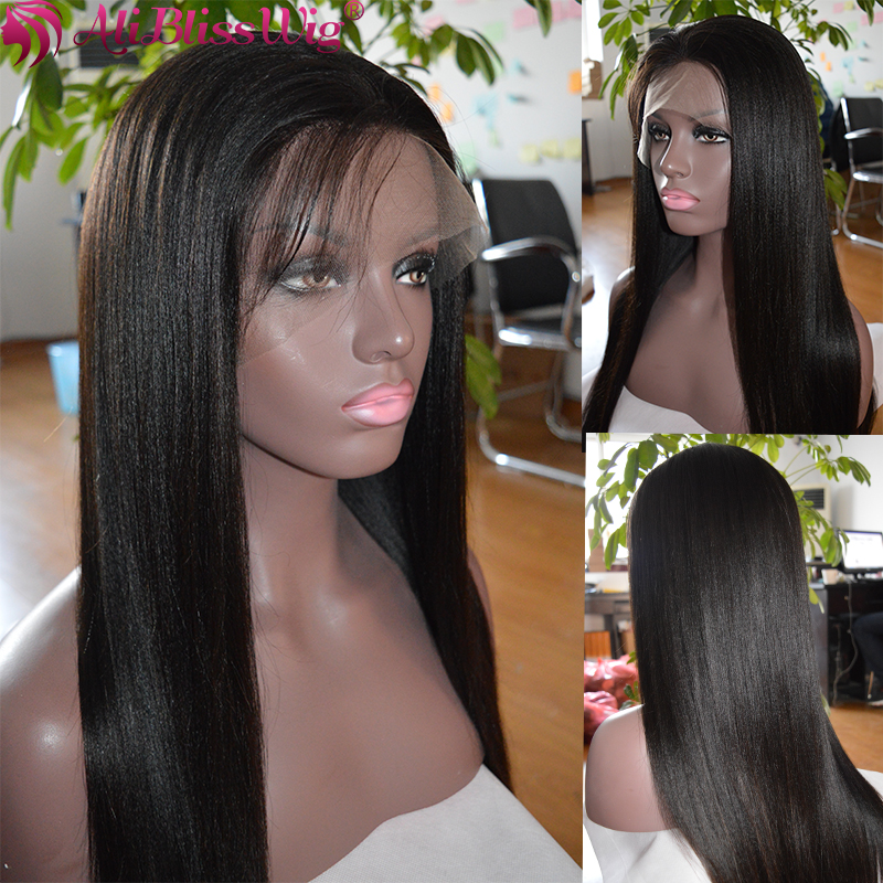 100% Unprocessed Natural Looking 150% Density Brazilian Remy Yaki Straight Aliexpress Wigs Lace Front wig Human Hair Pre Plucked