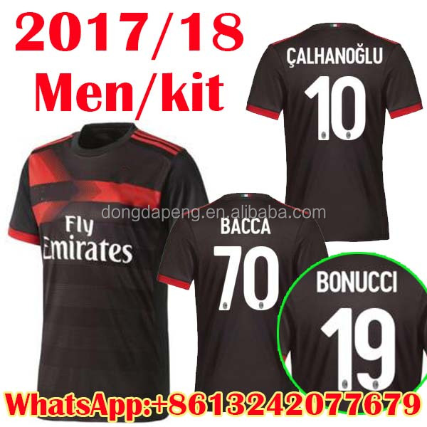 Free Shipping 2017/18 AC Soccer Jerseys Milan third 2rd Football men Shirts kits high quality sportswear AAAA