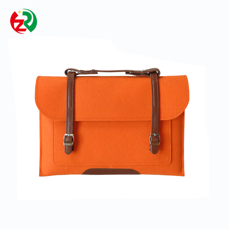 Make to Order Custom Logo Portable 15.6 inches custom eco-friendly felt laptop sleeve with leather handle