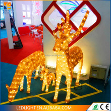 warm white Female .male and baby 3D LED reindeers CE ROHS for christmas decoration