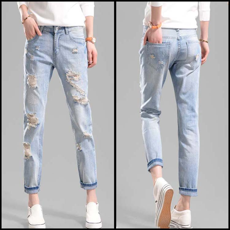 2017 Hot Sale Fashion Retro Washed Blue Pantalones Ripped Jeans Woman